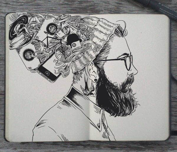 black-and-white-hipster-drawing