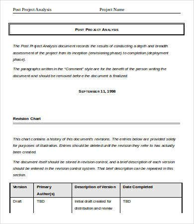 Project Analysis Template   Free Word Pdf Documents Download