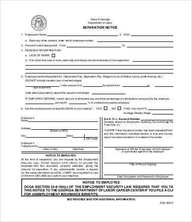 Separation Notice   Free Word Pdf Documents Download  Free