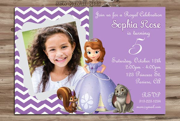 Disney Invitation Templates Free Sample Example Format - Sofia the first party invitation template