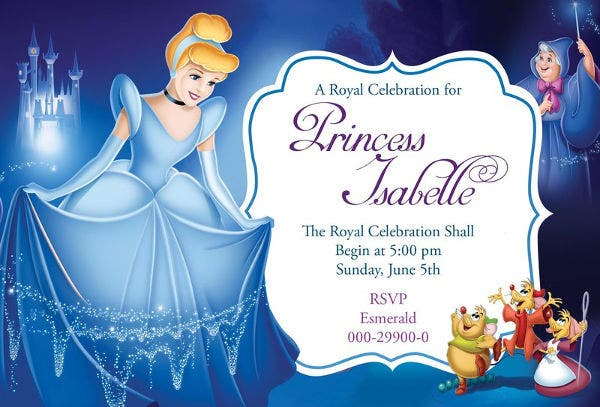 Free Disney Cinderella Birthday Invitation Card