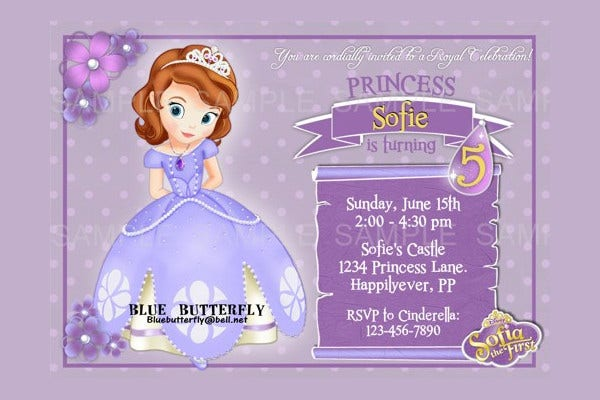 Disney Princess Sofia the First Party Invitation