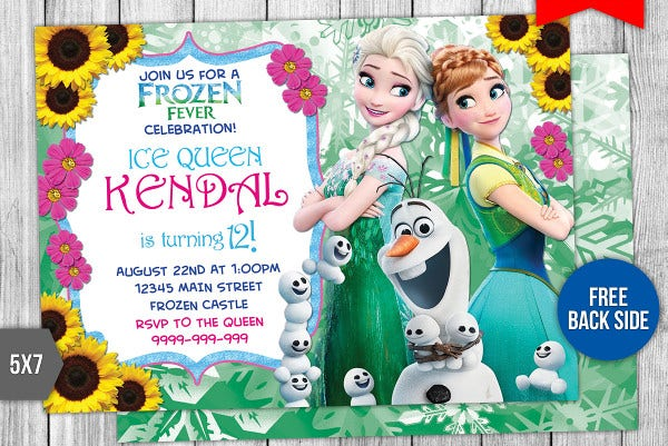 Disney Frozen Fever Birthday Invitation