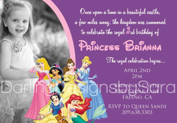 Disney Birthday Invitation Photo Template