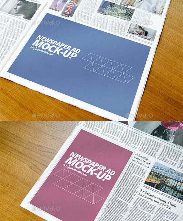 9 newspaper mockups free psd vector eps format for Paper ad design templates