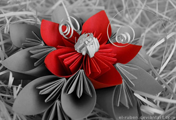 Red Color Paper Flower