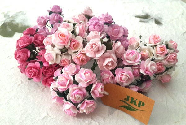 Mixed Pink Color Mulberry Paper Flower