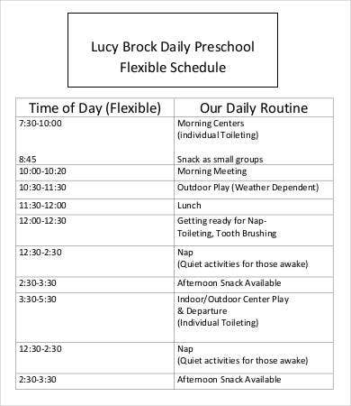 Preschool Schedule Template   Free Word Pdf Documents Download