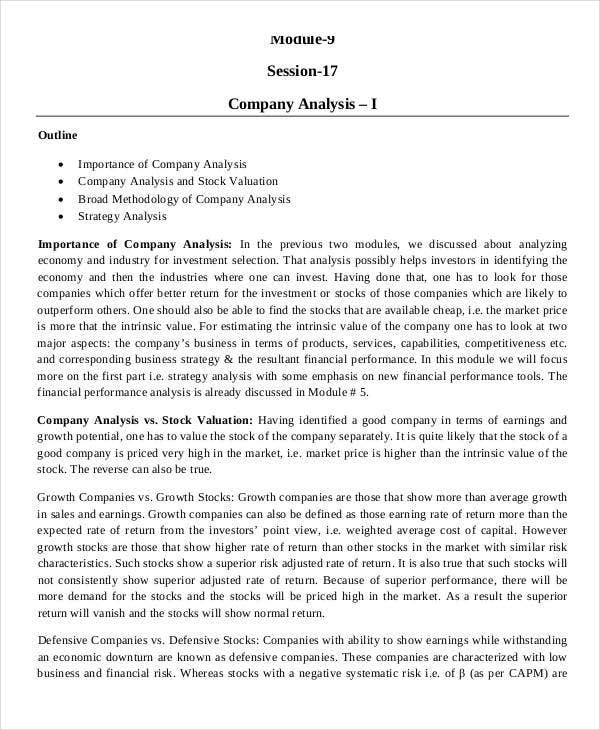 Company Analysis Template   Award Certificates  Free Sample
