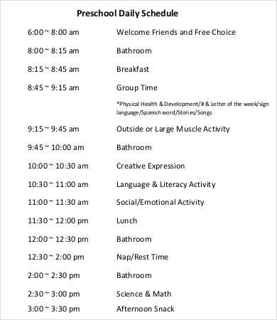 Preschool Schedule Template - 7+ Free Word, PDF Documents Download ...
