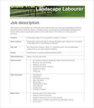 landscaping labourer job description