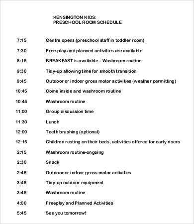 Preschool Room Daily Schedule Template