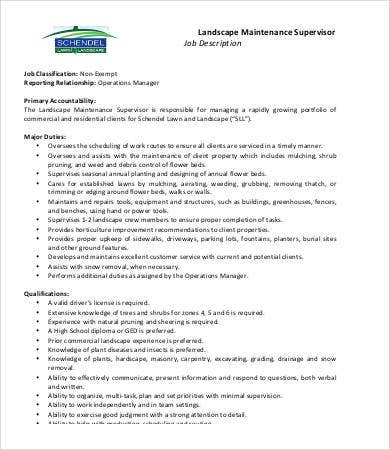 Landscaping Job Description - 7+ Free Word, Pdf Documents Download