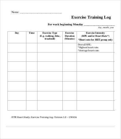 Exercise Log  Free Pdf Documents Download  Free  Premium Templates