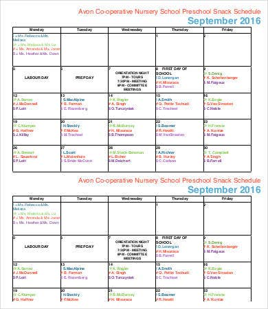 Preschool Snack Schedule Template