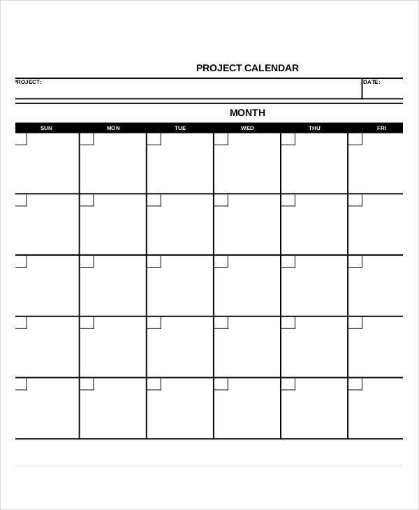 monthly project calendar template