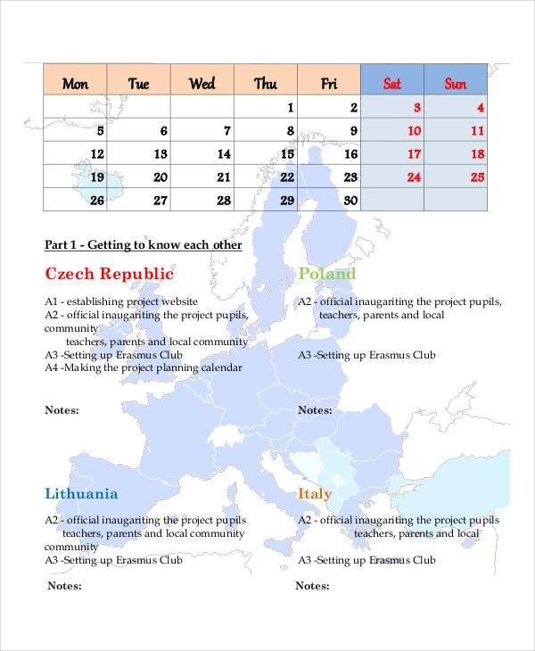 project planning calendar template