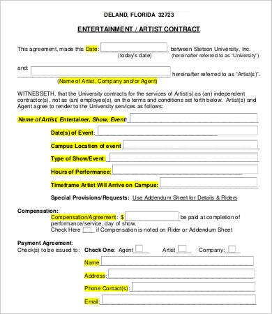 entertainment artist contract template