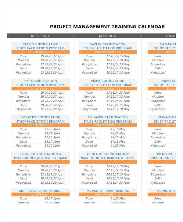 Project Calendar Templates 9 Free Word Excel PDF Format – Management Calendar Template