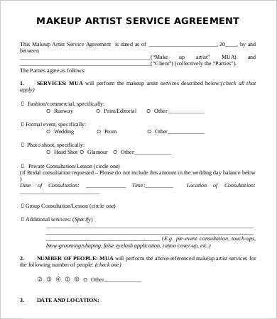 makeup artist service contract template