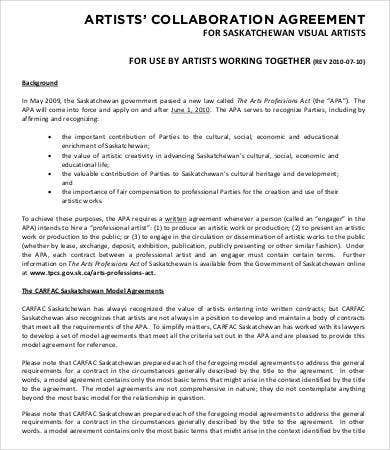 Artist contract template 13 free word pdf documents for Collaboration contract template