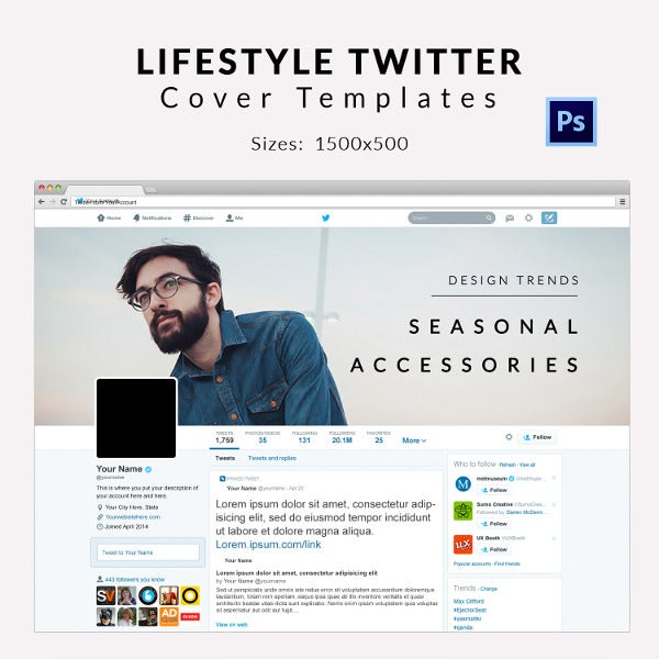 Life Style Twitter Cover Template