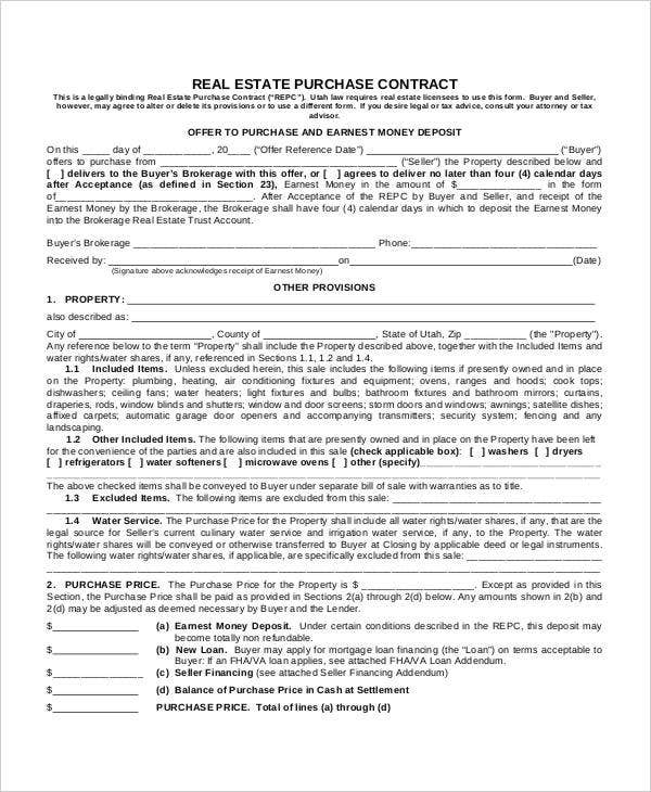Purchase Contract Template 9 Free Word PDF Documents Download – Real Estate Contract Template