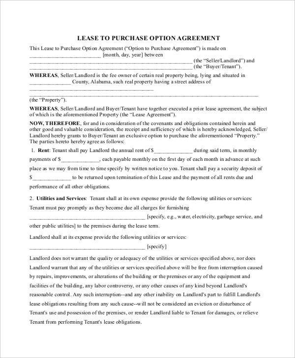 Lease Purchase Contract Template  Property Purchase Agreement Template