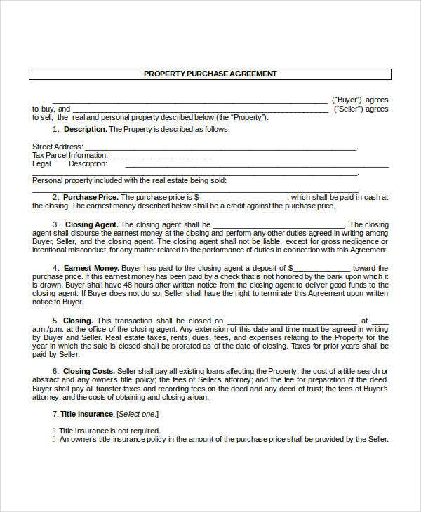 Purchase Contract Template 9 Free Word PDF Documents Download – Real Estate Purchase Agreement Template Free