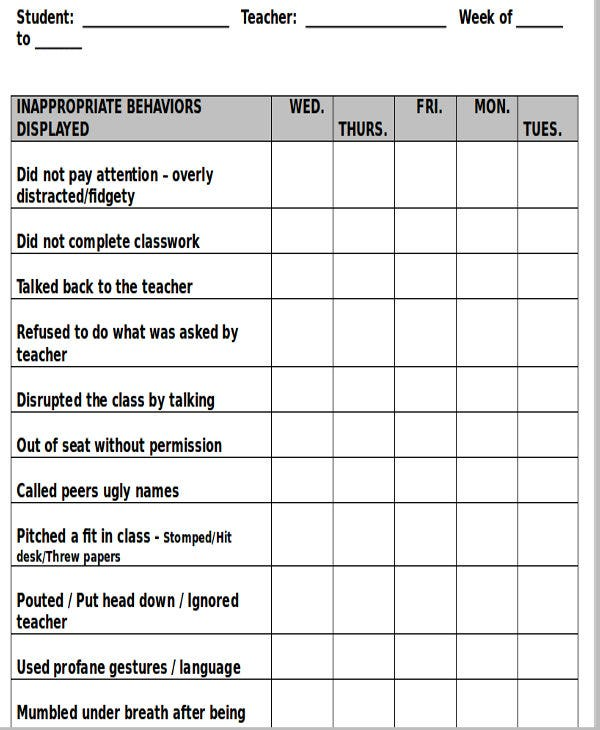 printable classroom behavior chart