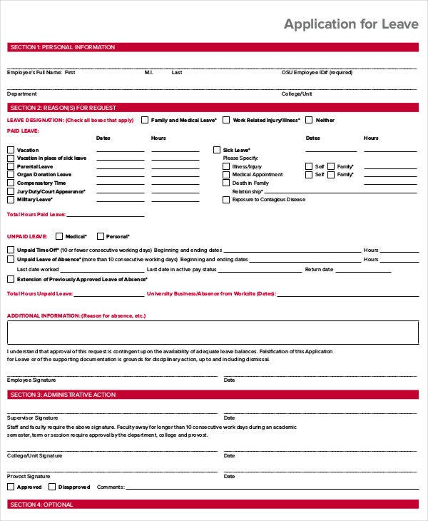 work leave application template