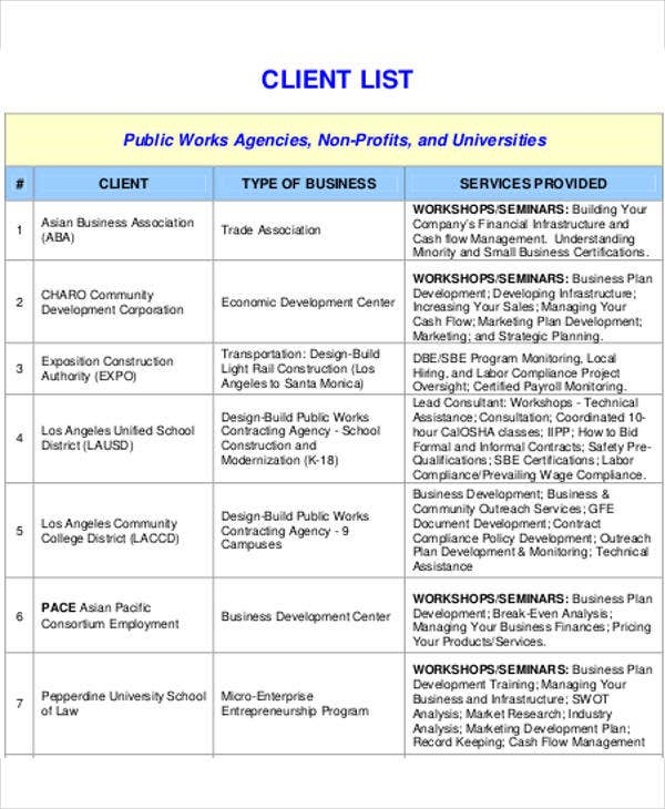 business client list template