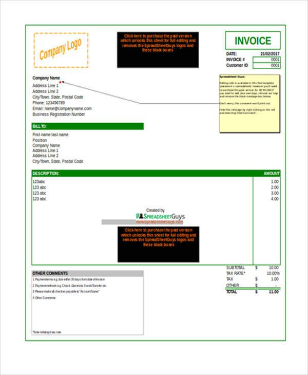 excel invoice spreadsheet template