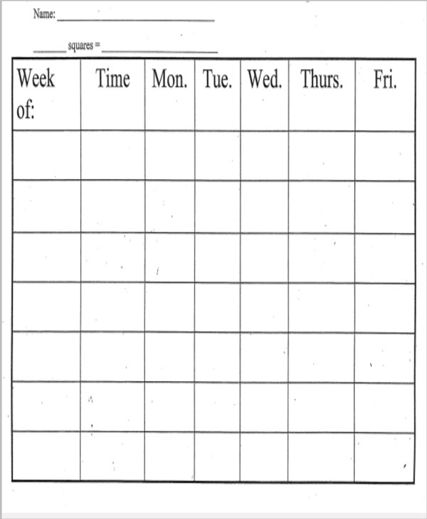 printable weekly behavior chart