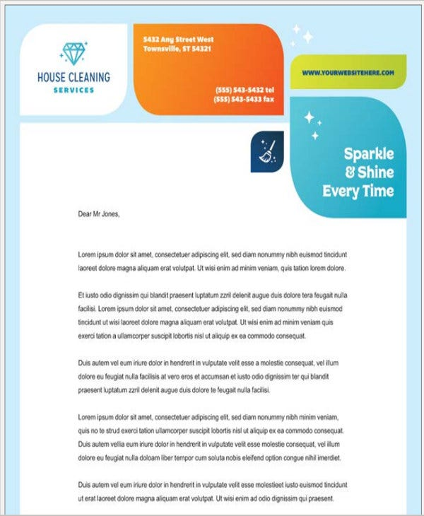 cleaning company letterhead template word