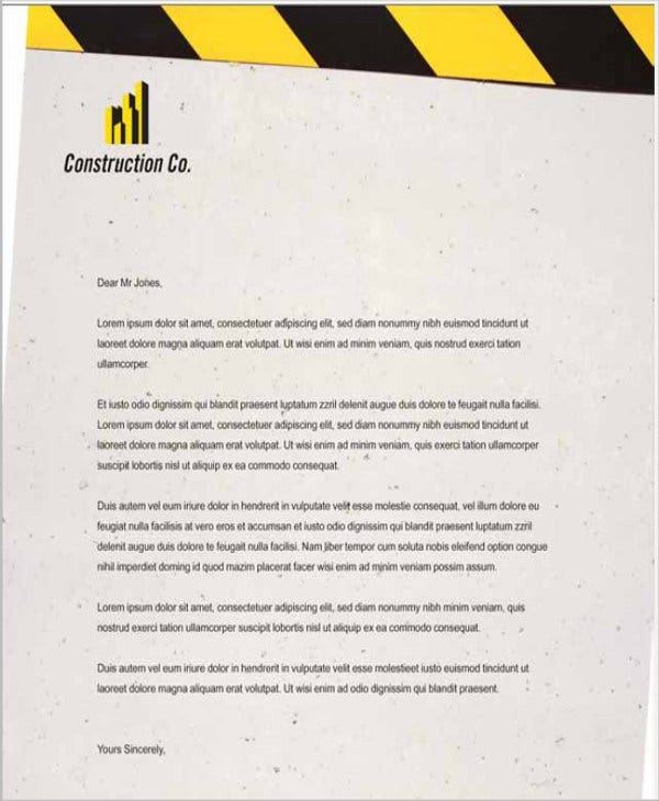 construction company letterhead template word