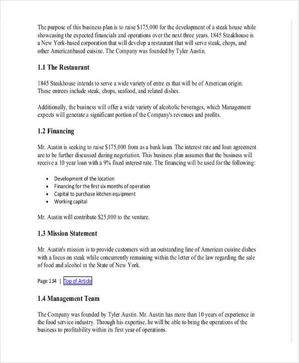 restaurant business proposal template in word