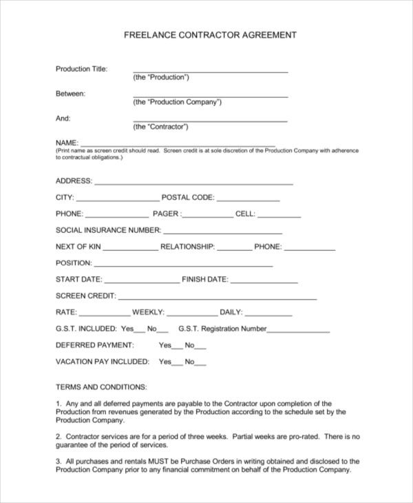 Sample Freelance Contract Templates  Free Sample Example