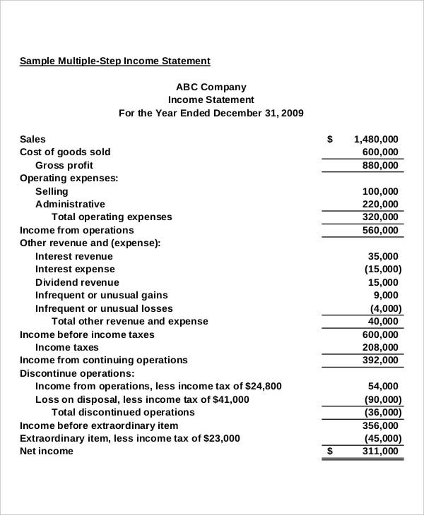 multi step income statement with taxes