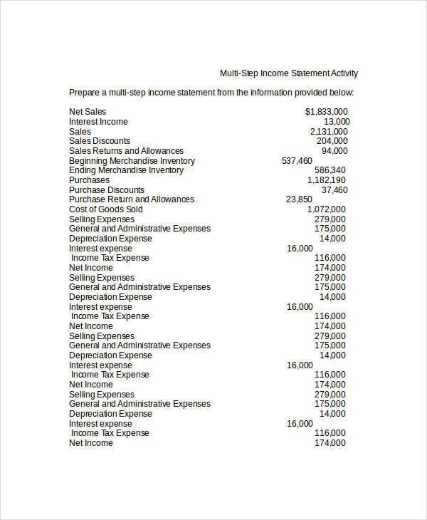 multi step income statement for job