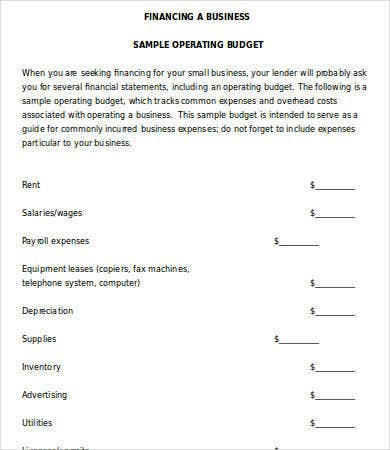 Small Business Operating Budget Template