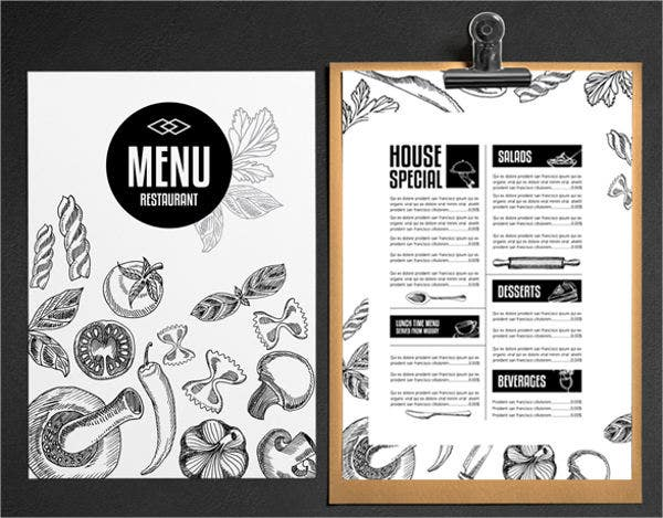 Free Printable Menu Template  Free Printable Restaurant Menu Template