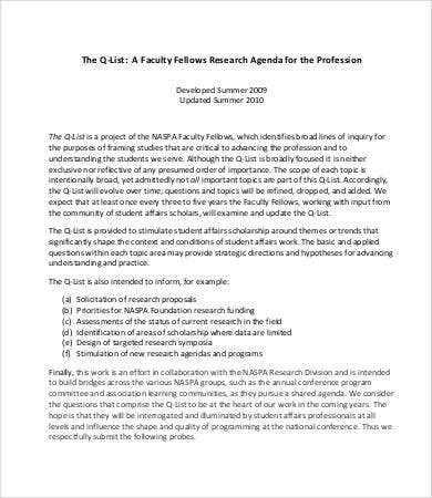 Research Agenda Template | 8 Research Agenda Templates Free Sample Example Format Free