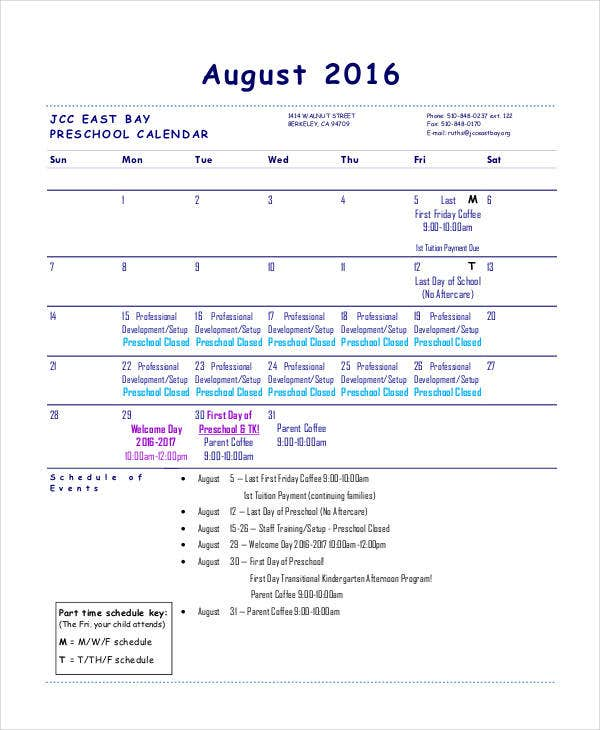 Preschool Calendar Templates   Free Pdf Format Download  Free