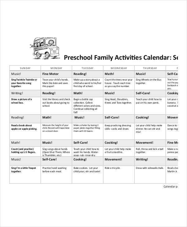 Preschool Calendar Templates 9 Free Pdf Format Download Free