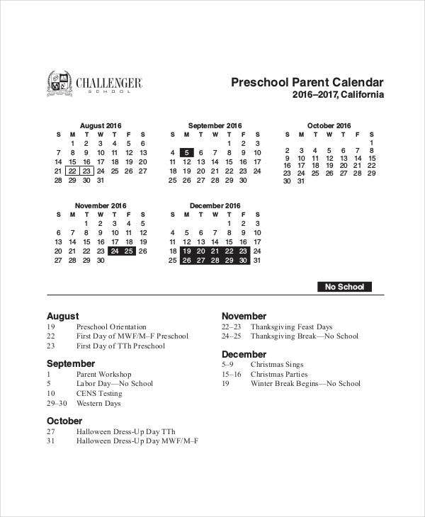 preschool parent calendar template