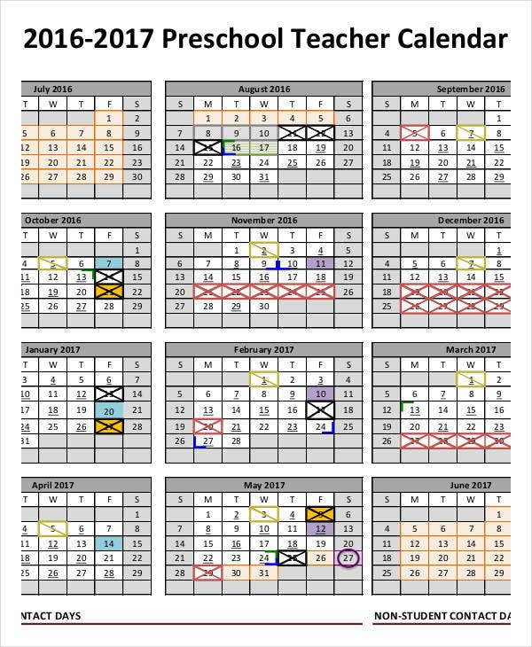 Preschool calendar templates 9 free pdf format download for Preschool classroom schedule template