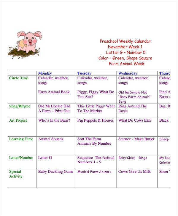 preschool weekly calendar template