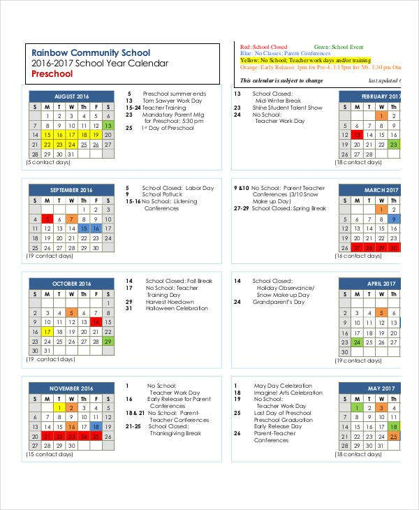 Kindergarten Year Calendar : Preschool calendar templates free pdf format download