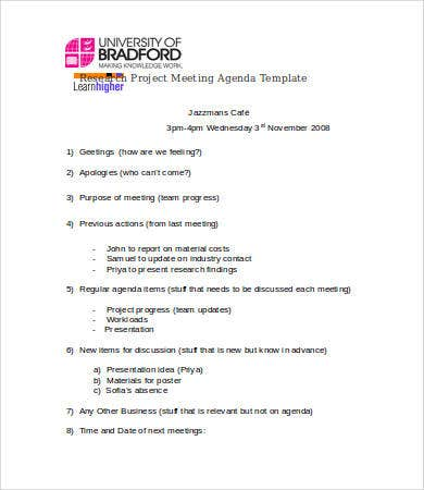 8+ Research Agenda Templates - Free Sample, Example, Format | Free